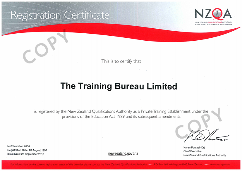 NZQA Registration Certificate
